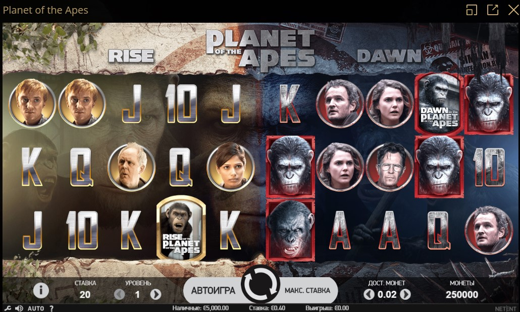 Новый слот от Riobet: Planet of the Apes